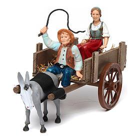 Santons crèche: Fermiers sur charrette 10x20x10 cm