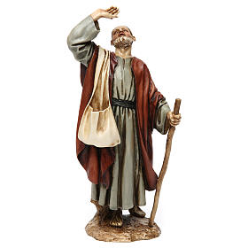 Wonderstruck man with stick in resin Moranduzzo Nativity Scene 20 cm s1