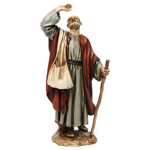Wonderstruck man with stick in resin Moranduzzo Nativity Scene 20 cm 1