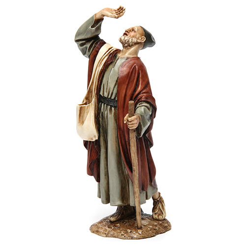 Wonderstruck man with stick in resin Moranduzzo Nativity Scene 20 cm 3