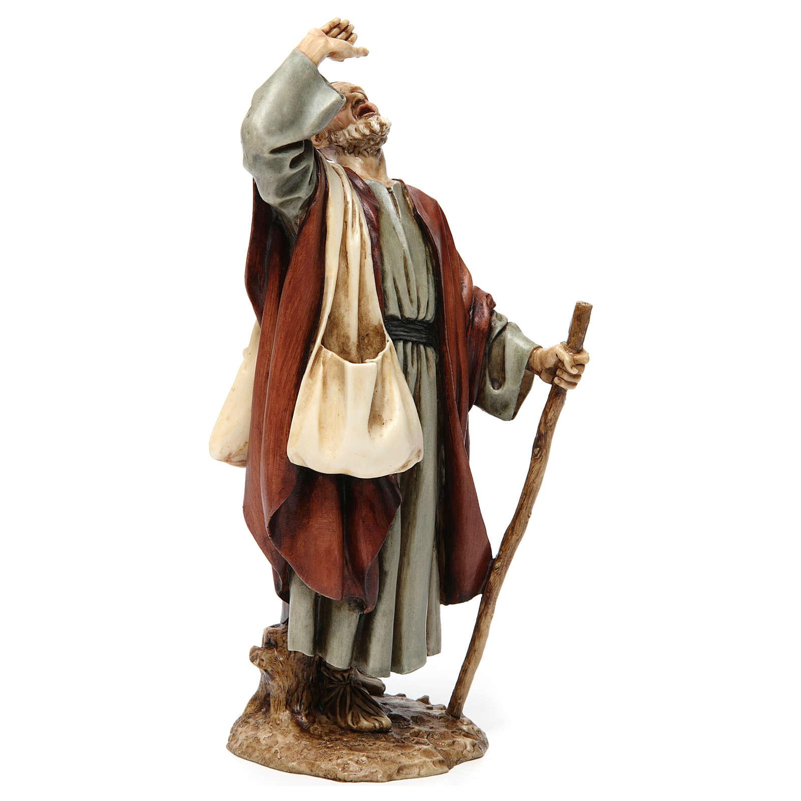 Hombre asombrado con bastón resina 20 cm Moranduzzo 4