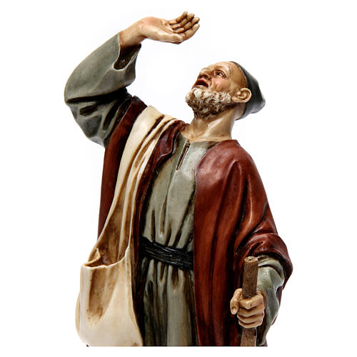 Hombre asombrado con bastón resina 20 cm Moranduzzo 2