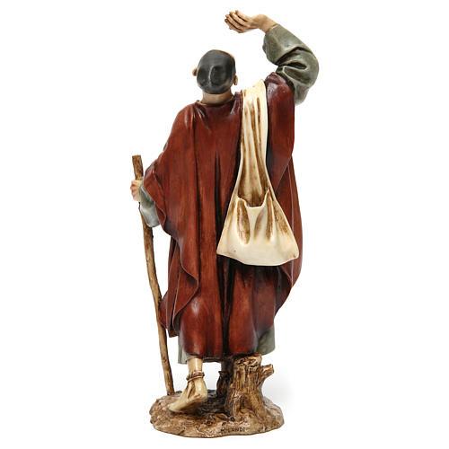 Hombre asombrado con bastón resina 20 cm Moranduzzo 5