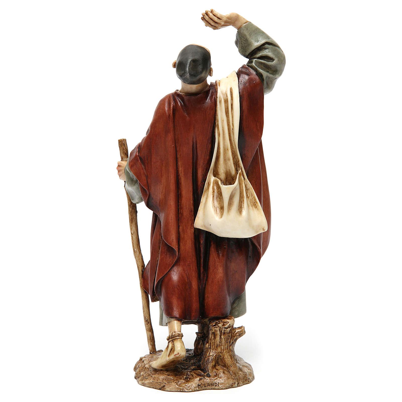 Homme émerveillé avec canne résine Moranduzzo 20 cm 4