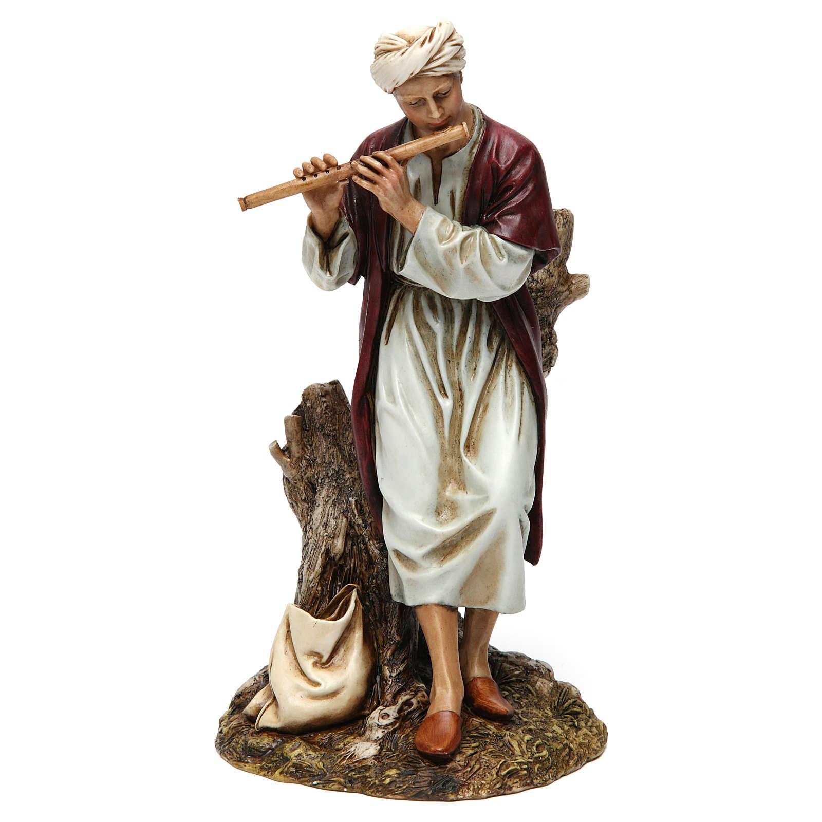 Flautista resina para presépio 20 cm Moranduzzo 4