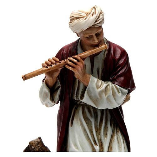 Flautista resina para presépio 20 cm Moranduzzo 2