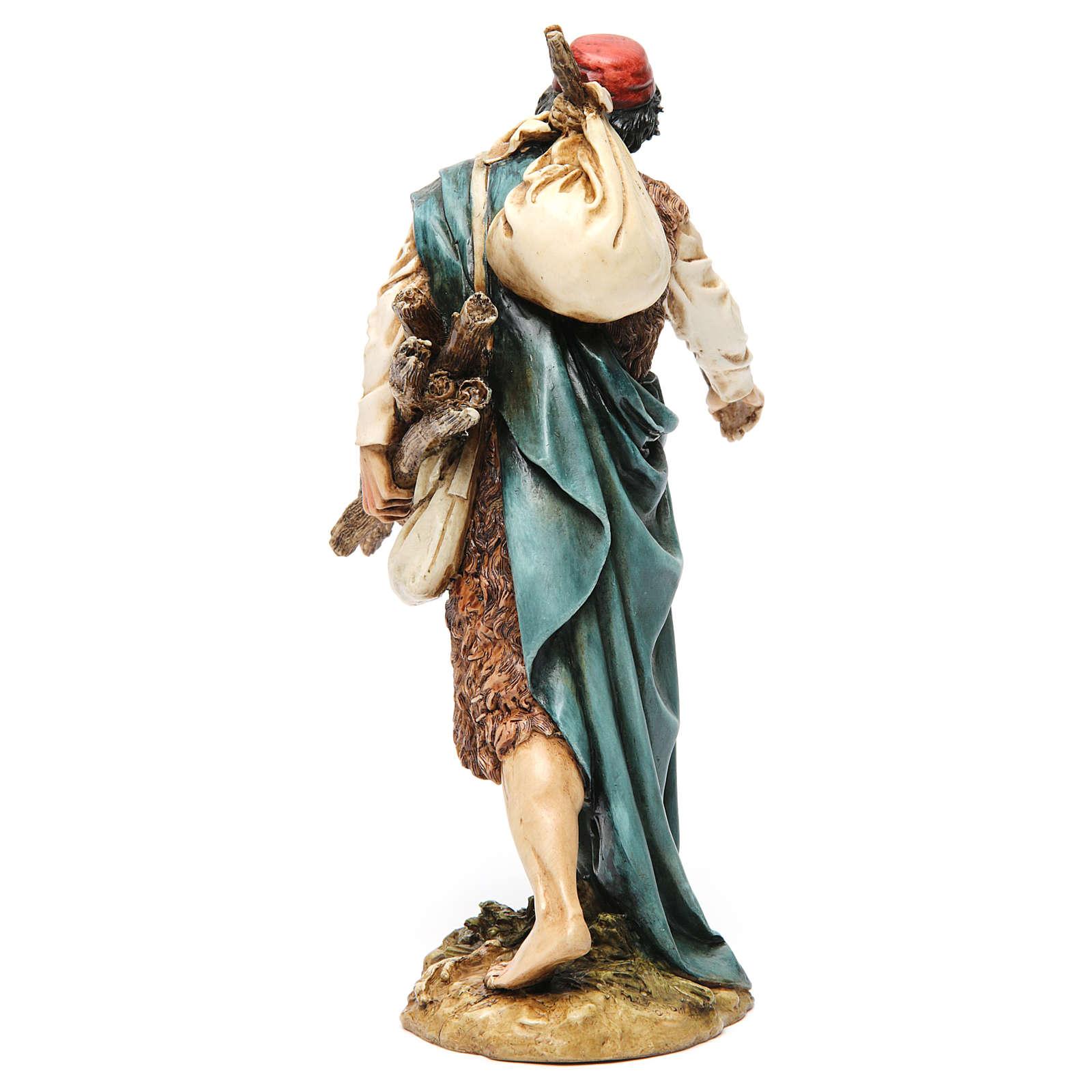 Viandante con saco y madera resina 20 cm Moranduzzo 4