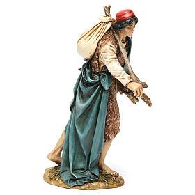 Viandante con saco y madera resina 20 cm Moranduzzo s4