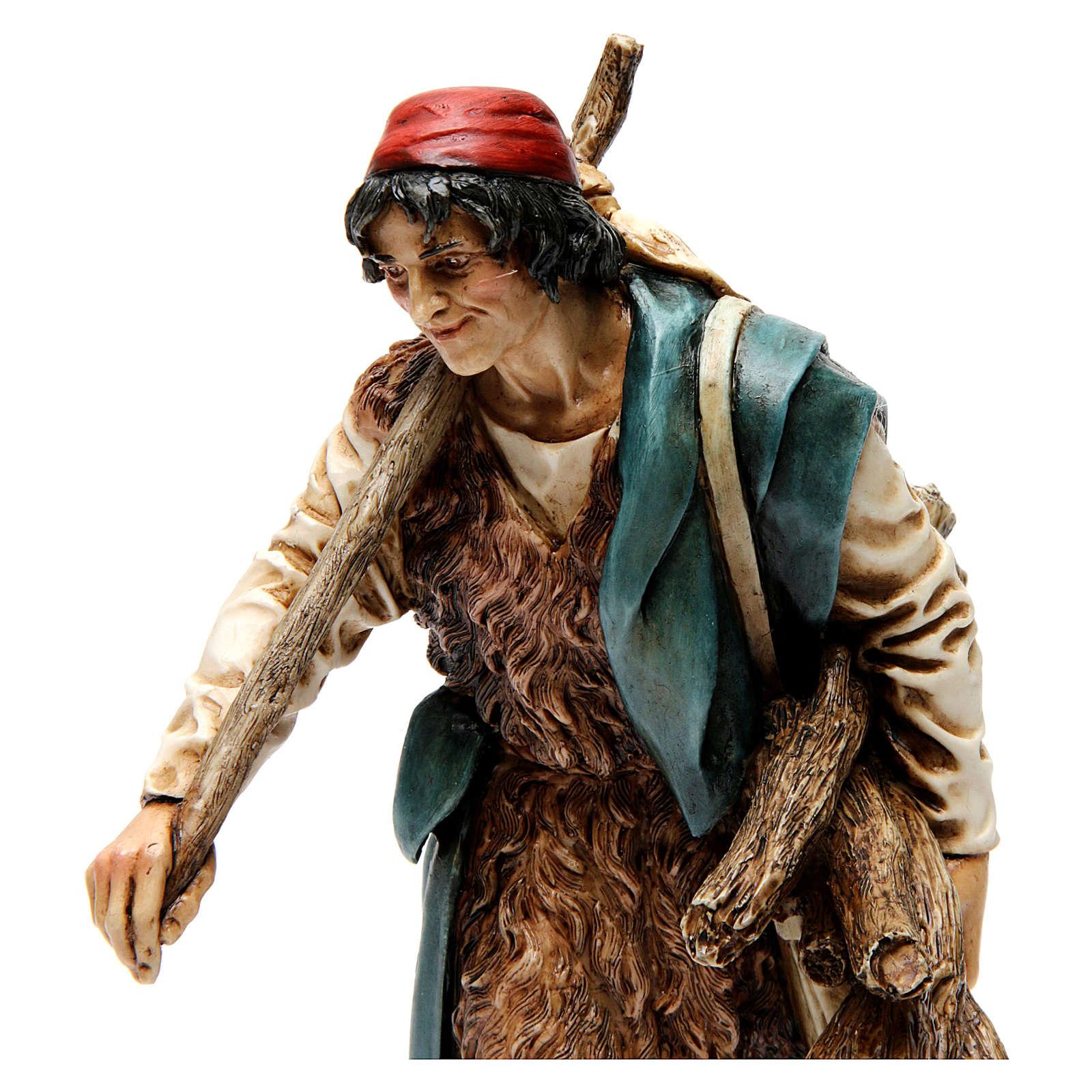 Viandante con sacco e legna resina 20 cm Moranduzzo 4