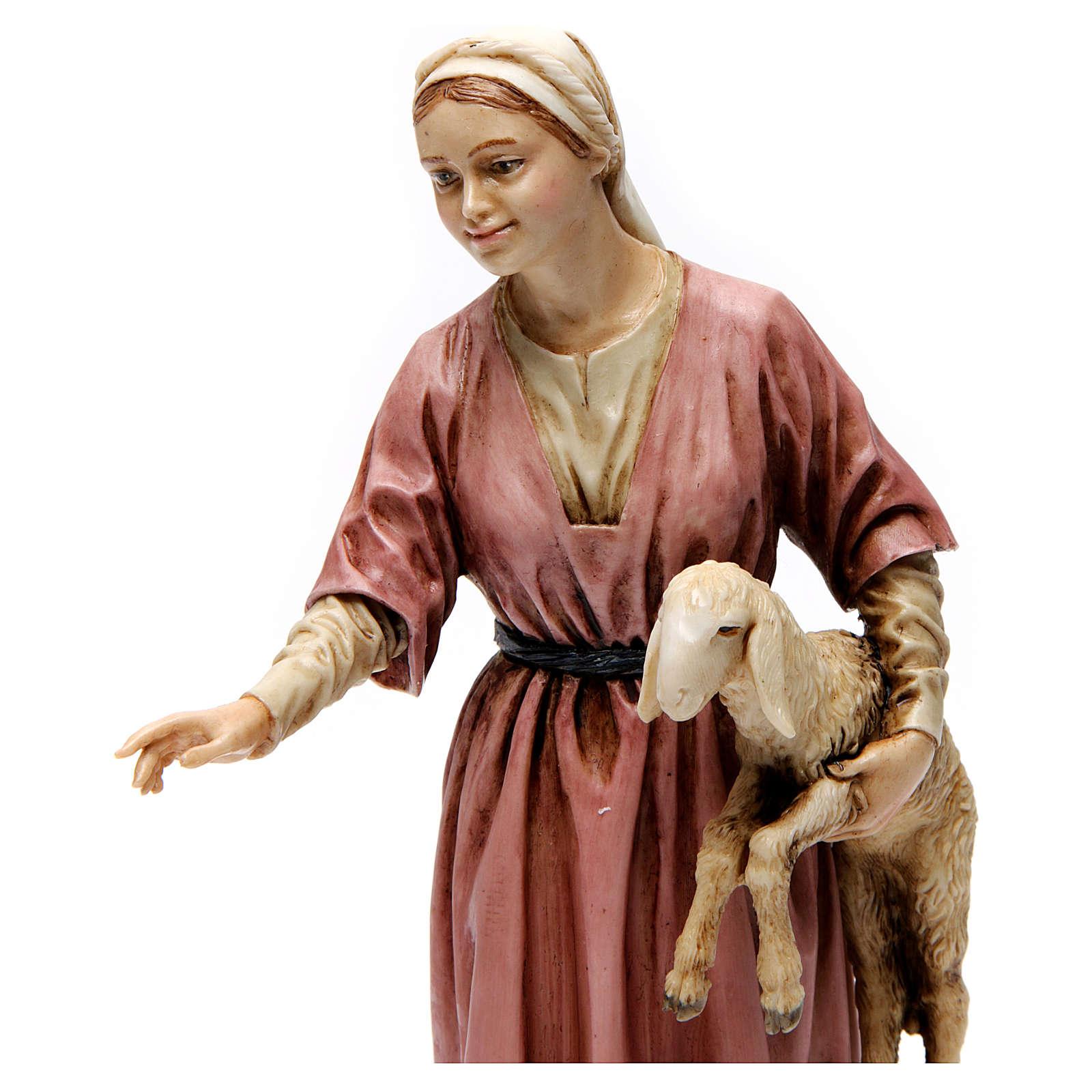 Pastorella con agnello in braccio resina 20 cm Moranduzzo 4