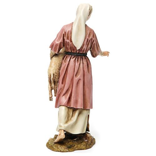 Pastorella con agnello in braccio resina 20 cm Moranduzzo 5