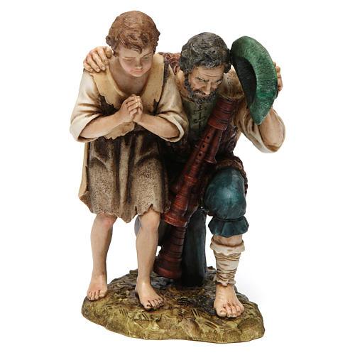 Bagpipe player with child Moranduzzo Nativity Scene 20 cm 1