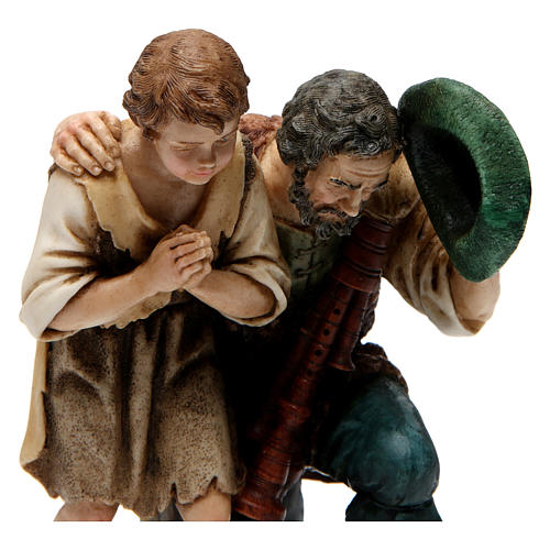 Bagpipe player with child Moranduzzo Nativity Scene 20 cm 2