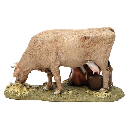 Milkmaid with cow in resin Moranduzzo Nativity Scene 13 cm 5