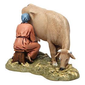 Mungitrice con mucca in resina 13 cm Moranduzzo s3