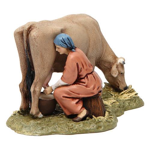 Mungitrice con mucca in resina 13 cm Moranduzzo 1