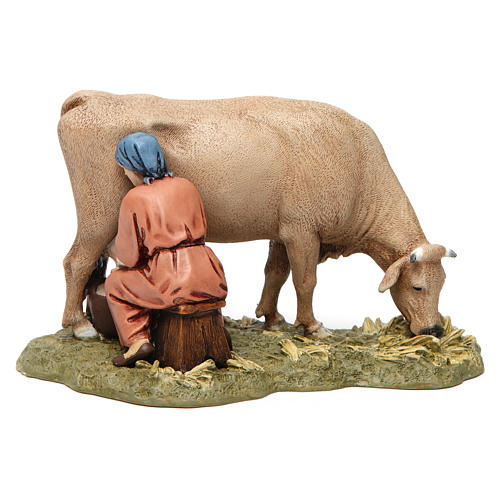 Mungitrice con mucca in resina 13 cm Moranduzzo 2