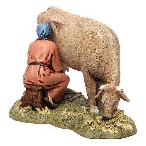 Mungitrice con mucca in resina 13 cm Moranduzzo 3