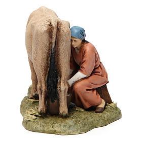 Camponês com vaca em resina 13 cm Moranduzzo s4