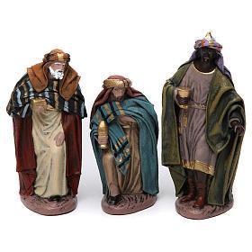 Scena Tre Re Magi in adorazione presepe 14 cm terracotta s1