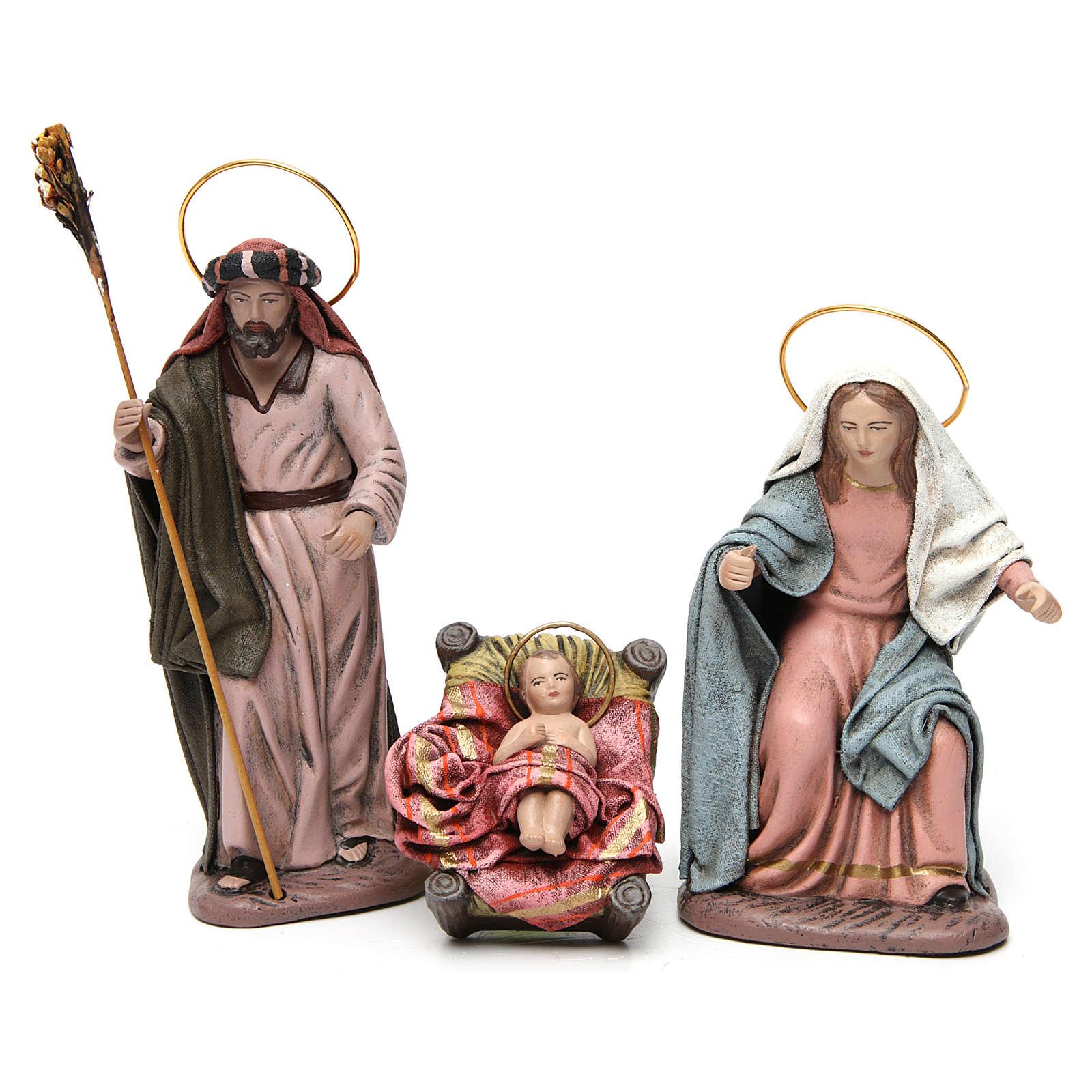 Sacra Famiglia con bue e asino 6 pezzi presepe 14 cm terracotta 3