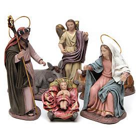Sacra Famiglia con bue e asino 6 pezzi presepe 14 cm terracotta s1