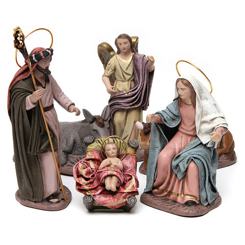 Sacra Famiglia con bue e asino 6 pezzi presepe 14 cm terracotta 1