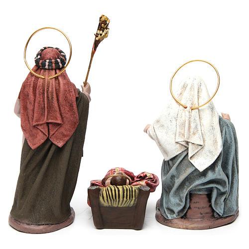 Sacra Famiglia con bue e asino 6 pezzi presepe 14 cm terracotta 7
