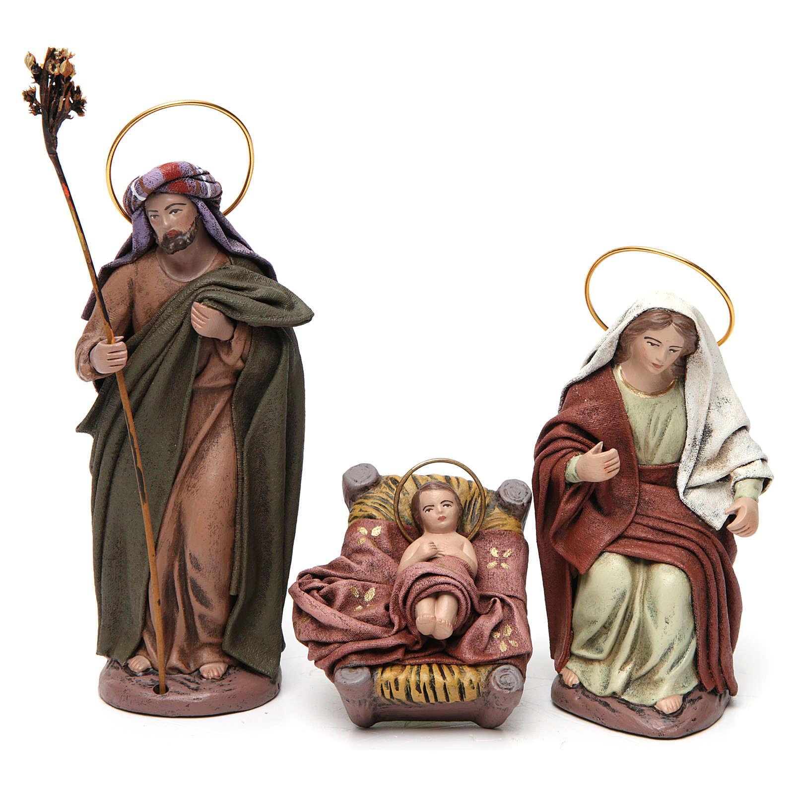 Scena Sacra Famiglia 6 pezzi con angelo presepe 14 cm terracotta 3