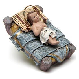 Birth of Jesus with sitting Mary and angel in terracotta for Nativity Scene 14 cm s3