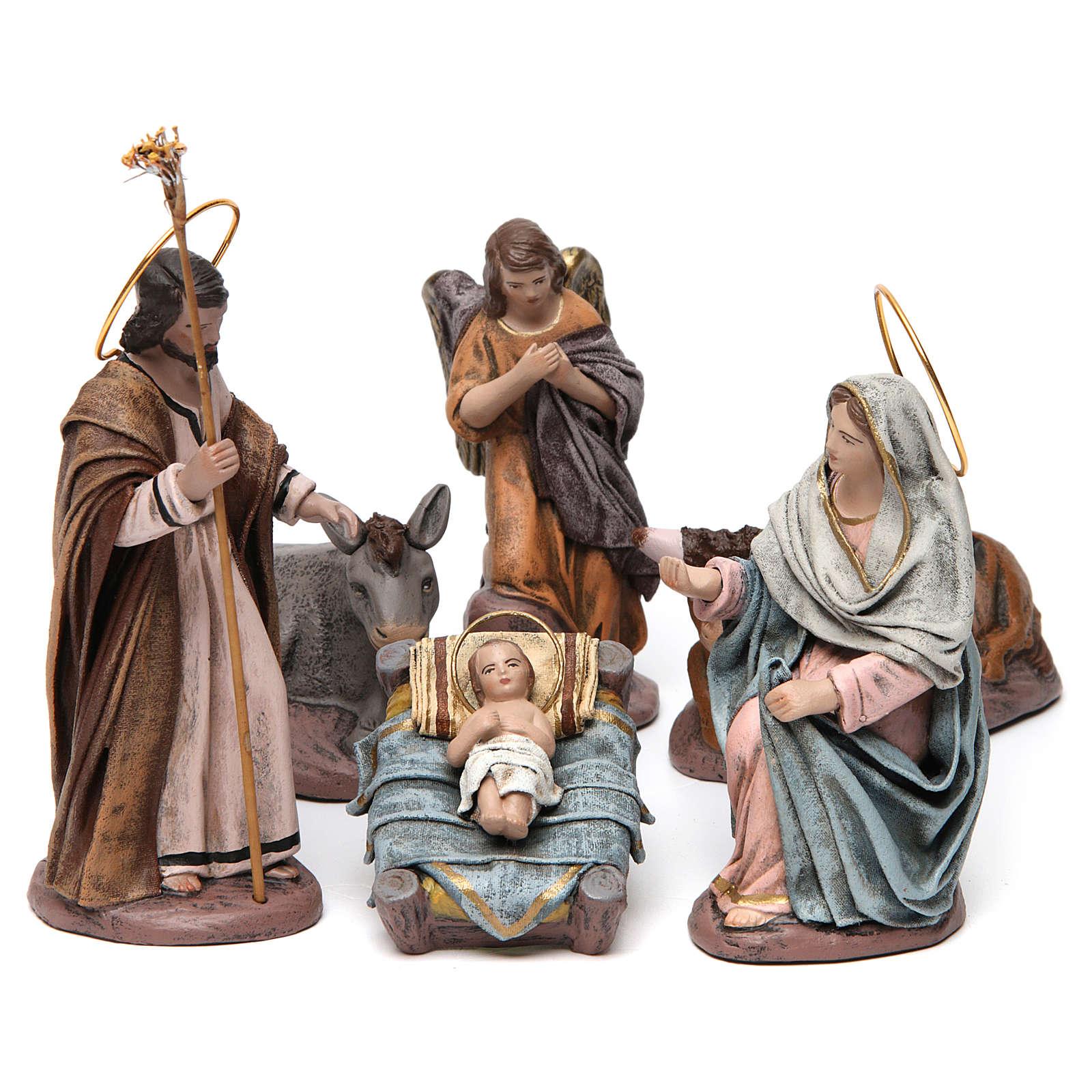 Natività con Maria seduta e angelo presepe 14 cm terracotta 3