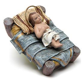 Natività con Maria seduta e angelo presepe 14 cm terracotta s3