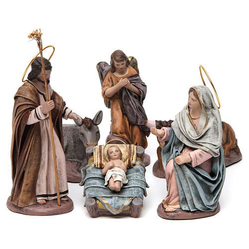 Natività con Maria seduta e angelo presepe 14 cm terracotta 1