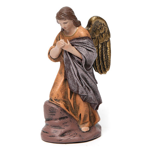 Natività con Maria seduta e angelo presepe 14 cm terracotta 4