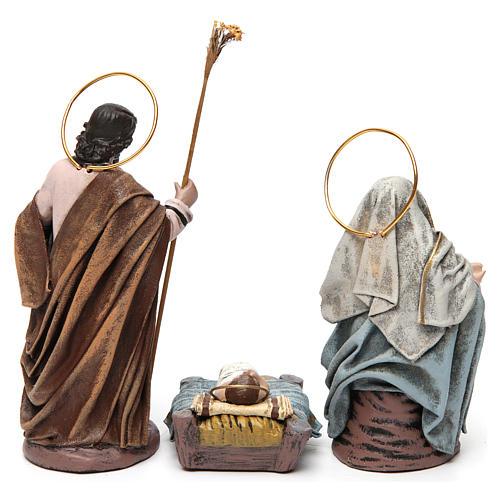 Natività con Maria seduta e angelo presepe 14 cm terracotta 7