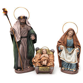 Birth of Jesus with Mary holding drape 6 pieces in terracotta for Nativity Scene 14 cm s2