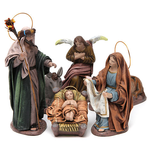 Birth of Jesus with Mary holding drape 6 pieces in terracotta for Nativity Scene 14 cm 1