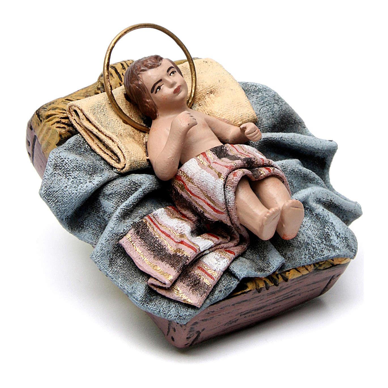 Nascita di Gesù con Maria inginocchiata 6 pz Natività presepe 14 cm terracotta 3