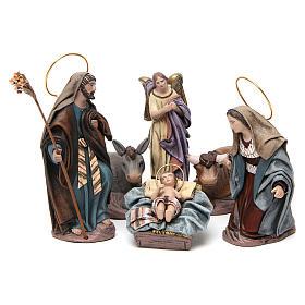 Nascita di Gesù con Maria inginocchiata 6 pz Natività presepe 14 cm terracotta s1