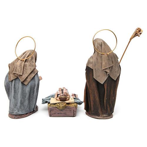 Nascita di Gesù con Maria inginocchiata 6 pz Natività presepe 14 cm terracotta 7