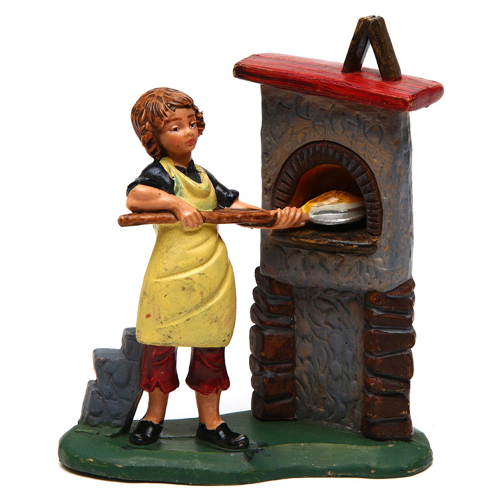 Hombre y horno para belén 10 cm de altura media 3