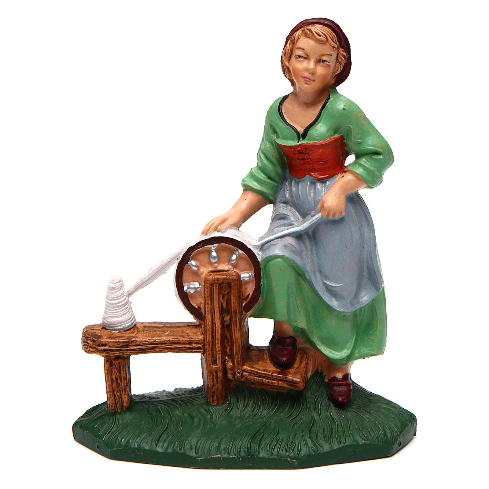 Femme qui file pour crèche 10 cm 3