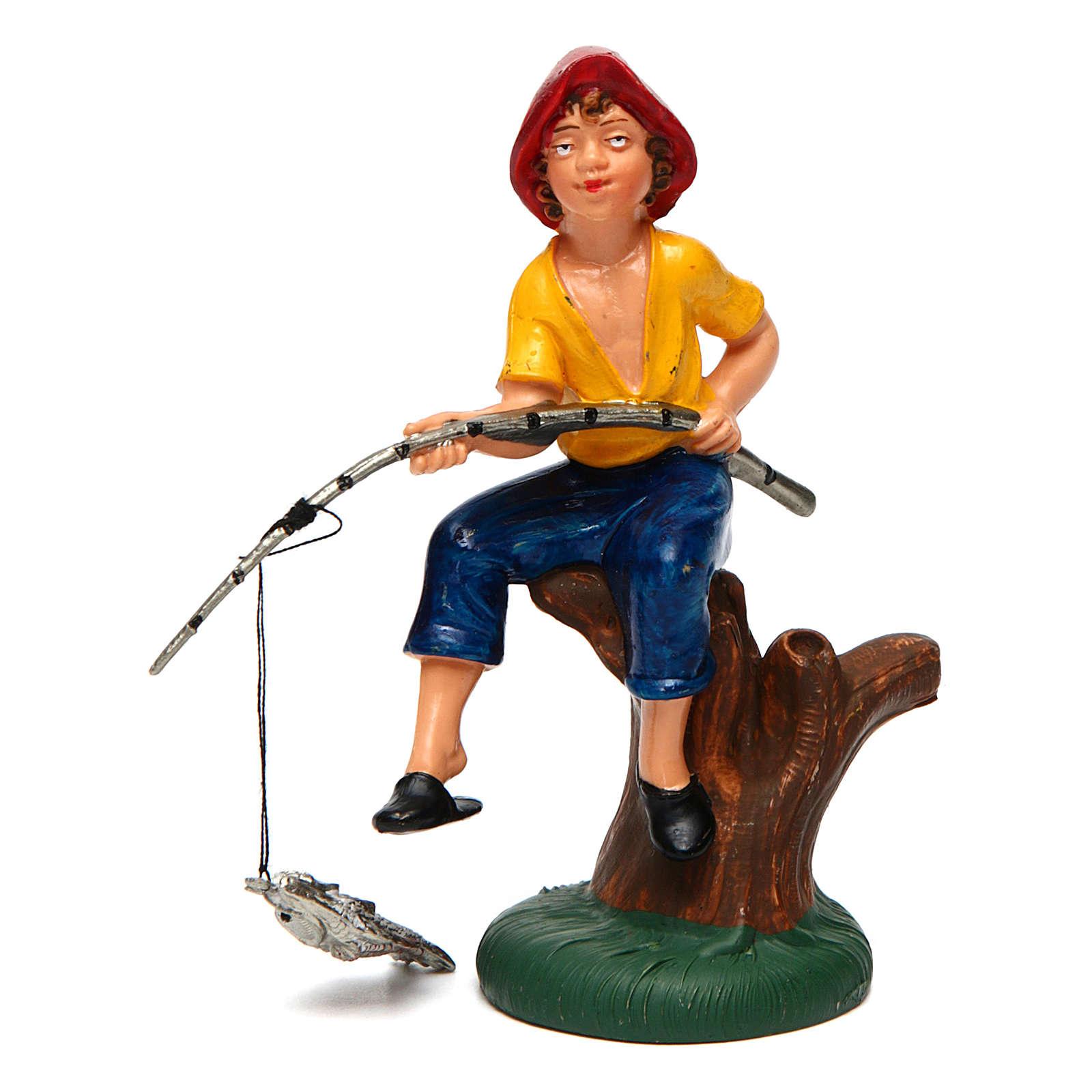 Pescador sentado para belén de 10 cm de altura media 3