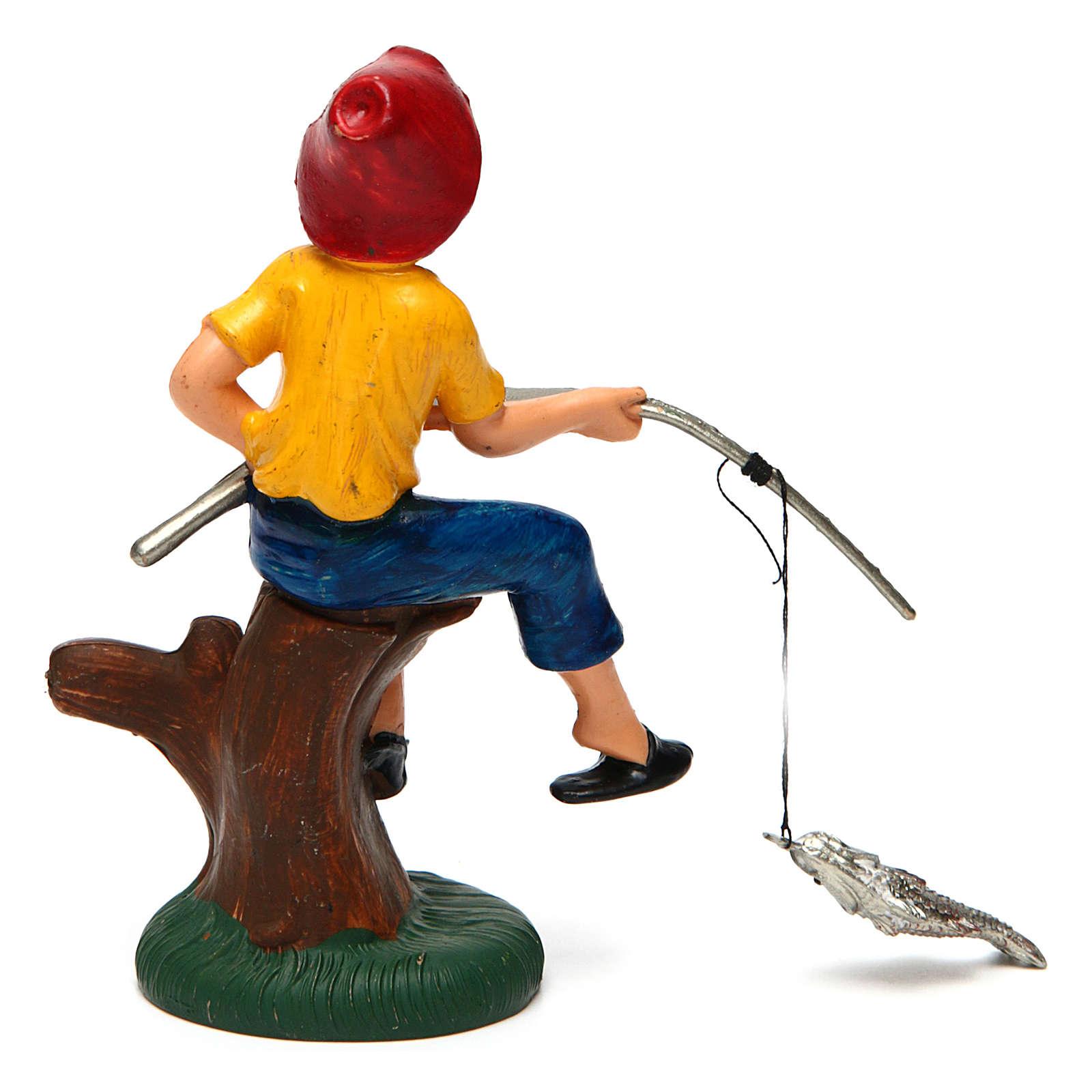 Pescatore seduto per presepe di 10 cm 3