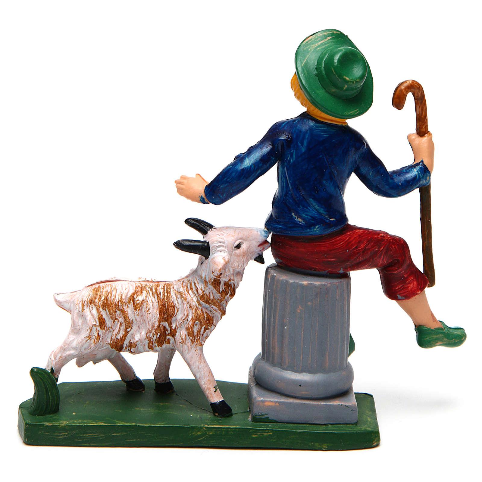Hombre sentado con oveja 10 cm de altura media belén 3