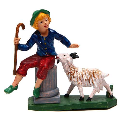 Homme assis avec mouton 10 cm crèche 1