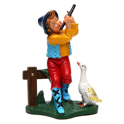 Jeune musicien avec oie de 12 cm crèche 1