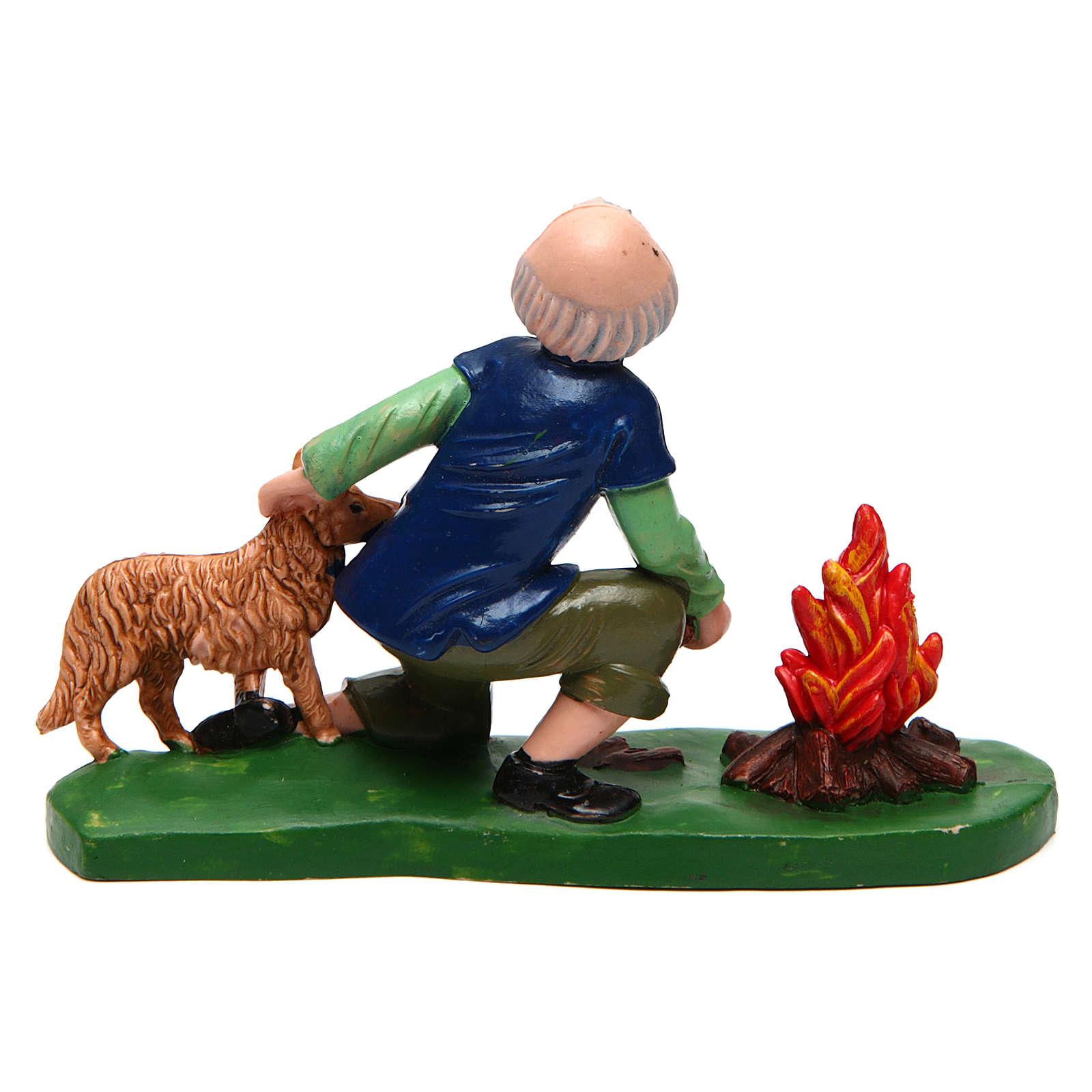 Hombre con perro y fuego 12 cm de altura media belén 3