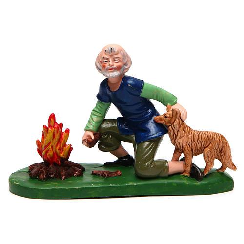 Homme avec chien et feu 12 cm crèche 1