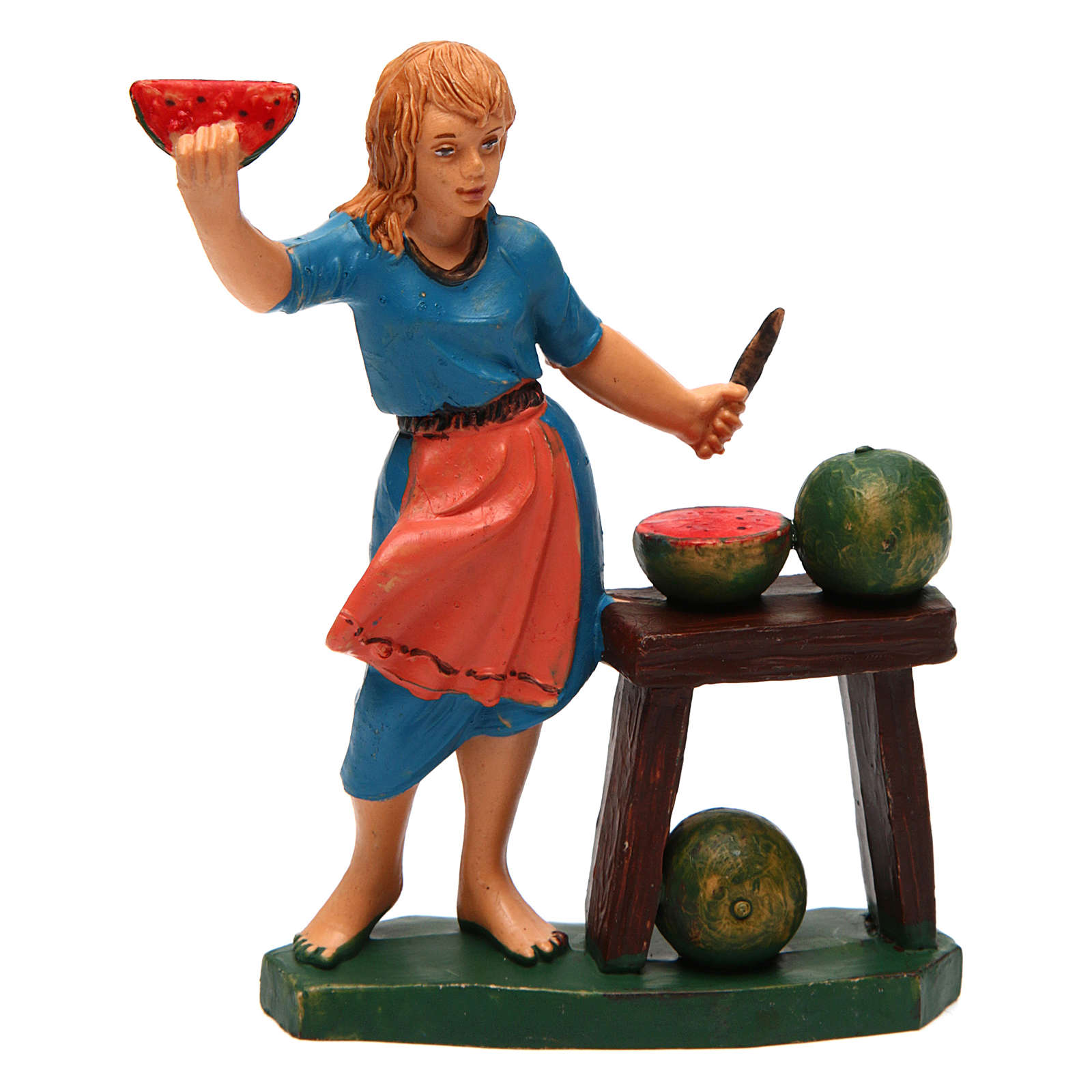 Mujer con mostrador de fruta ideal para belén de 12 cm de altura media 3
